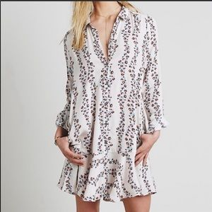 Free people pink floral ruffle button down dress